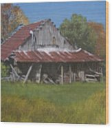 Gray Farm Building Wood Print