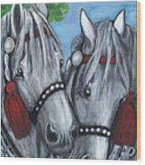 Gray Horses Wood Print by Anna Folkartanna Maciejewska-Dyba