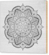 Gray Mandala Wood Print
