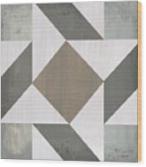 Gray Quilt Wood Print