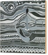 Gray Silk Maya Face In Nature Landscape Abstract Fantasy With Black Grey White Colors Sunset   Wood Print