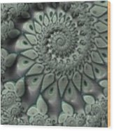 Gray Spiral Wood Print