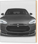 Gray Tesla Model S Luxury Electric Car Front View Isolated On Wh Wood Print