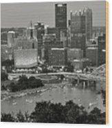 Grayscale Pittsburgh Wood Print