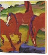 Grazing Horses Iv The Red Horses 1911 Wood Print