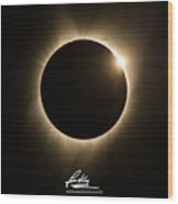 Great American Eclipse 16x9 Totality Square As Seen In Albany, Oregon Signature Edition. Wood Print