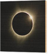 Great American Eclipse Diamond Ring 5x7 As Seen In Albany, Oregon. Wood Print