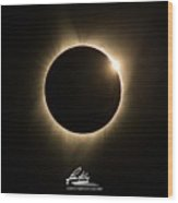 Great American Eclipse Diamond Ring 5x7 As Seen In Albany, Oregon.  Signature Edition Wood Print