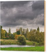 Great Barford River View Wood Print