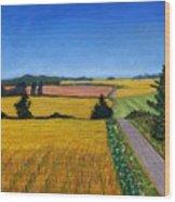 Great Bedwyn Wheat Fields Painting Wood Print