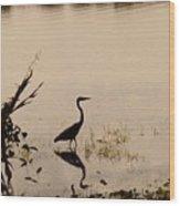 Great Blue Heron At Rollins Wood Print