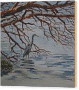 Great Blue Heron Wood Print by Bill Dinkins