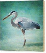 Great Blue Heron Wood Print by Ellen Heaverlo