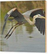 Great Blue Heron Flying Across Lake Wood Print