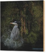 Great Blue Heron On The River Wood Print