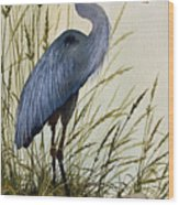 Great Blue Heron Splendor Wood Print by James Williamson