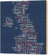 Great Britain Uk City Text Map Wood Print