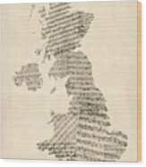 Great Britain Uk Old Sheet Music Map Wood Print by Michael Tompsett