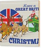 Great British Christmas Santa Reindeer Doube Decker Bus Wood Print