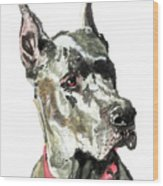 Great Dane Watercolor Wood Print