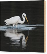 Great Egret Fishing In Early Morning Wood Print