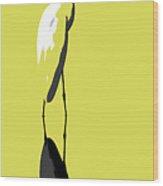Great Egret Reflection Gold Wood Print