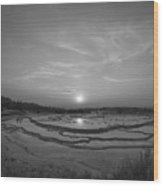 Great Fountain Geyser Sunset Bw Wood Print