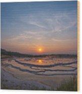 Great Fountain Geyser Sunset  Wood Print