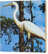 Great Heron Art Wood Print