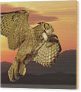 Great Horned Owl At Sunrise Wood Print
