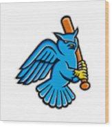 Great Horned Owl Baseball Mascot Wood Print