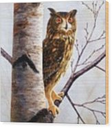 Great Horned Owl In Birch Wood Print