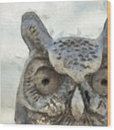 Great Horned Owl Pencil Wood Print