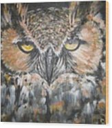 Great Hornet Owl Wood Print by Sandra Peyrolle