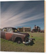 Abandoned Ford Car At Abandoned Farm Wood Print
