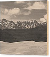 Great Sand Dunes Panorama 1 Sepia Wood Print