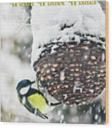Great Tit In The Snow Card Wood Print