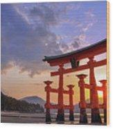 Great Torii Of Miyajima At Sunset Wood Print