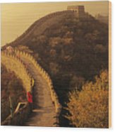 Great Wall In The Mist Wood Print