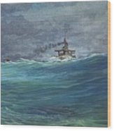 Great White Fleet In A Squall Wood Print