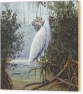 Great White Heron Wood Print by Kevin Brant