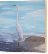 Great White Heron Wood Print