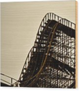 Great White Roller Coaster - Adventure Pier Wildwood Nj In Sepia Triptych 1 Wood Print