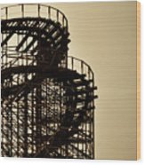 Great White Roller Coaster - Adventure Pier Wildwood Nj In Sepia Triptych 3 Wood Print