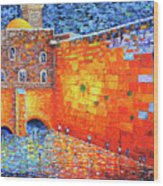 Wailing Wall Greatness In The Evening Jerusalem Palette Knife Painting Wood Print