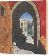 Grecian Passageway Wood Print