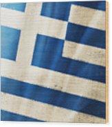 Greece Flag Wood Print by Setsiri Silapasuwanchai