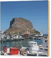Greece Island Harbor Wood Print