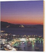 Greece Mykonos Harbor. Dusk Wood Print