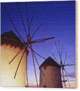 Greece. Mykonos Town. Illuminated Windmills At Dusk. Wood Print